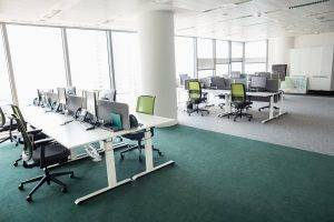 Office Building with Desks for Office Cleaning Service in Kendall, FL